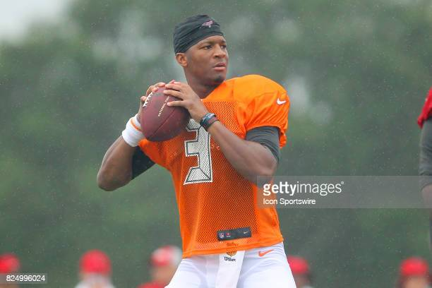 Jameis Winston sets up to throw downfield during the Tampa Bay Buccaneers Training Camp on July 31 2017 at One Buccaneer Place in Tampa Florida