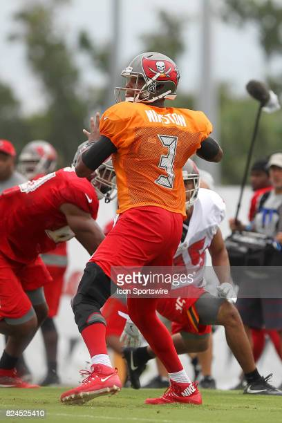 Jameis Winston sets up to throw the football down field during the Tampa Bay Buccaneers Training Camp on July 30 2017 at One Buccaneer Place in Tampa...