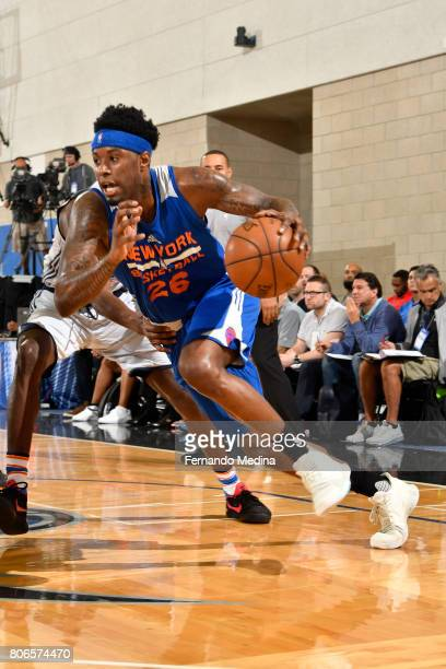 Jamel Artis of the New York Knicks drives to the basket against the Oklahoma City Thunder on July 3 2017 during the 2017 Summer League at Amway...