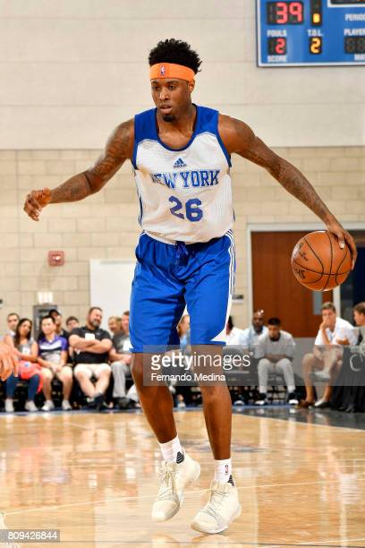 Jamel Artis of the New York Knicks handles the ball during the game against the Orlando Magic during the 2017 Orlando Summer League on July 5 2017 at...