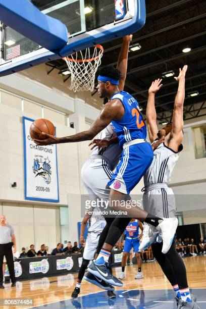 Jamel Artis of the New York Knicks shoots a lay up against the Oklahoma City Thunder on July 3 2017 during the 2017 Summer League at Amway Center in...