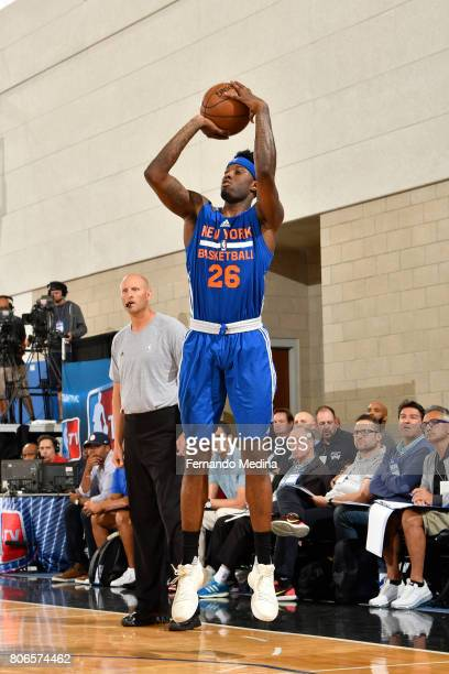 Jamel Artis of the New York Knicks shoots the ball against the Oklahoma City Thunder on July 3 2017 during the 2017 Summer League at Amway Center in...