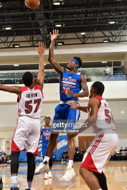 Jamel Artis of the New York Knicks shoots the ball against the Miami Heat during the Mountain Dew Orlando Pro Summer League on July 6 2017 at Amway...