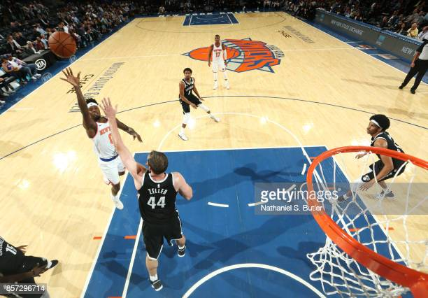 Jamel Artis of the New York Knicks shoots the ball against the Brooklyn Nets during the preseason game on October 3 2017 at Madison Square Garden in...