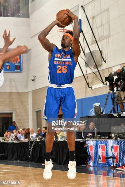 Jamel Artis of the New York Knicks shoots the ball against the Detroit Pistons during the 2017 Summer League on July 2 2017 at Amway Center in...