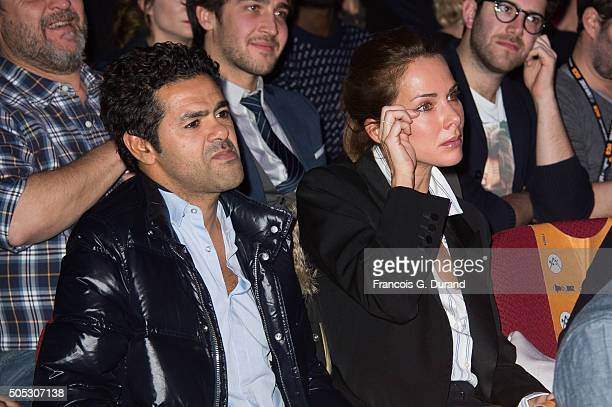 Jamel Debbouze and Melissa Theuriau attend the closing ceremony of the 18th L'Alpe D'Huez International Comedy Film Festival on January 16 2016 in...