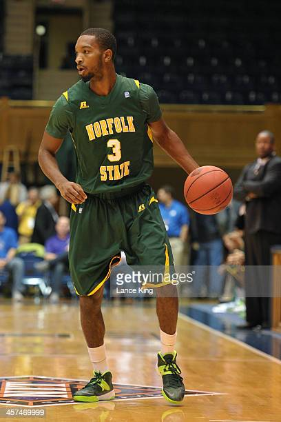 Jamel Fuentes of the Norfolk State Spartans dribbles against the East Carolina Pirates at Cameron Indoor Stadium on November 18 2013 in Durham North...