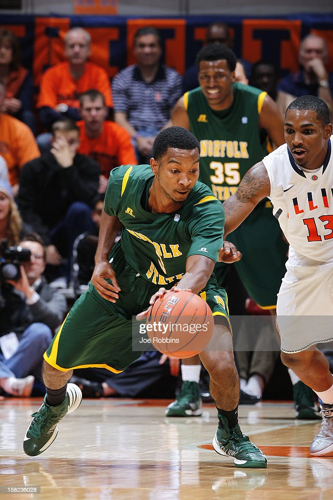 Jamel Fuentes #3 of the Norfolk State Spartans tries to keep the ball away from Tracy Abrams #13 of the Illinois Fighting Illini during the game at Assembly Hall on December 11, 2012 in Champaign, Illinois. Illinois won 64-54.