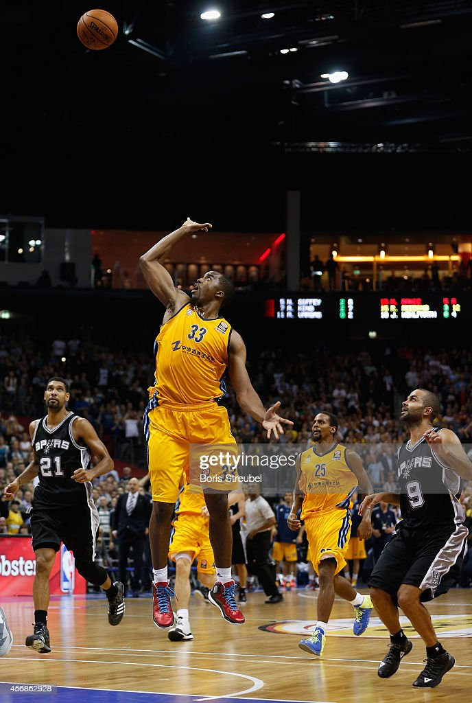 Jamel McLean of Berlin scores in the last second to win the NBA Global Games Tour 2014 match between Alba Berlin and San Antonio Spurs at O2 World on October 8, 2014 in Berlin, Germany.