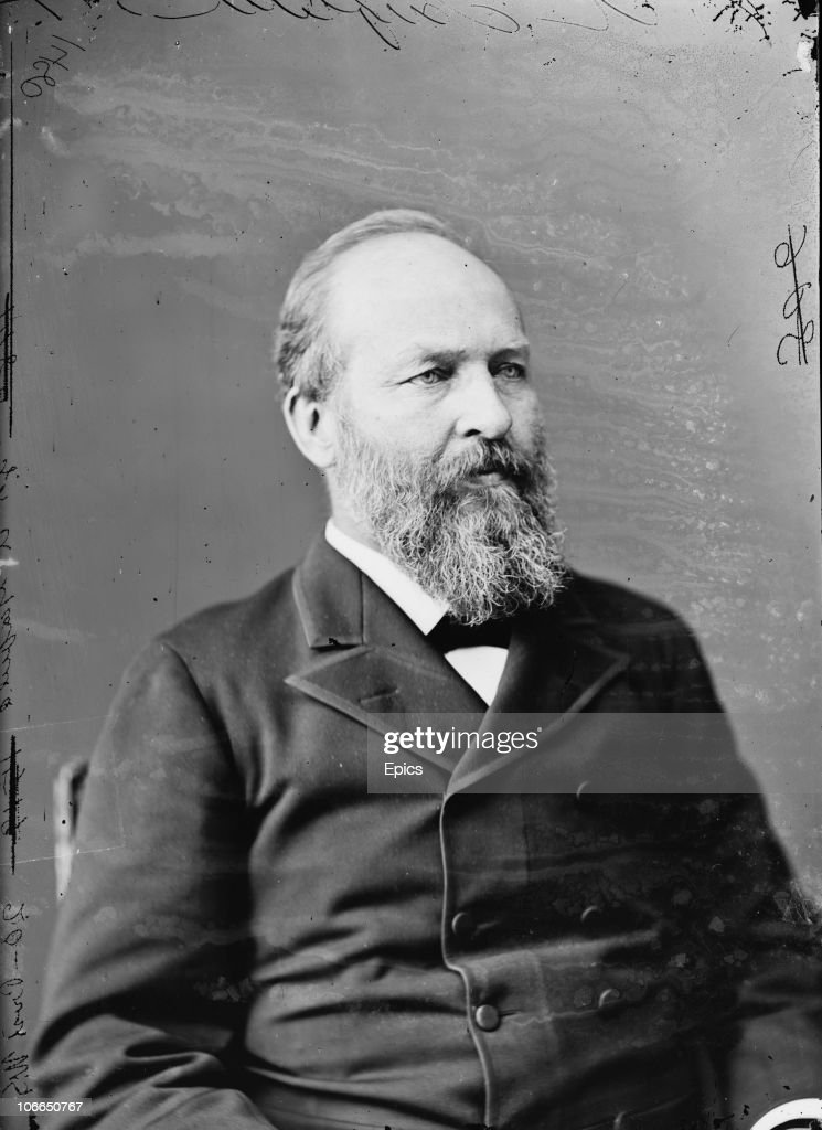 James Abram Garfield 20th President of the United States circa 1880 Following his support of civil service reform he was shot by Charles Guiteau a...