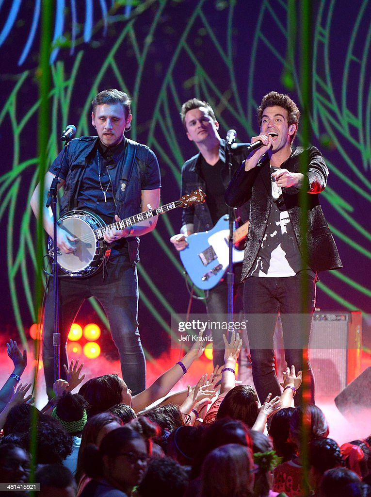 James Adam Shelley and Zac Barnett of musical group American Authors perform onstage at Nickelodeon's 27th Annual Kids' Choice Awards at USC Galen Center on March 29, 2014 in Los Angeles, California.