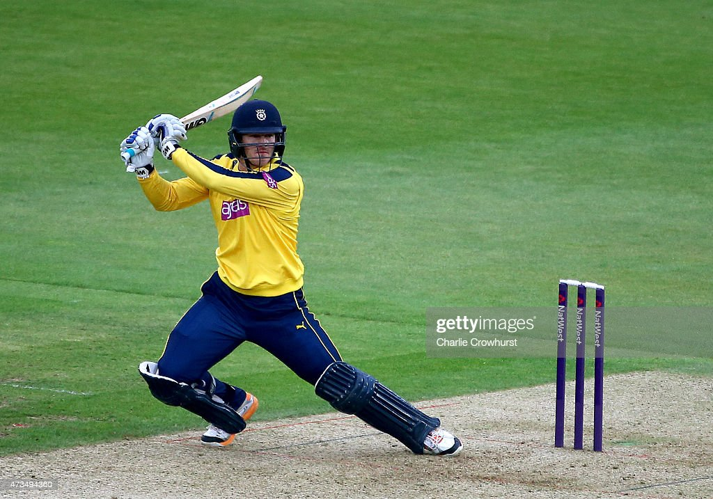 James Adams of Hampshire hits out during the Natwest T20 Blast match between Hampshire and Essex at The Rose Bowl on May 15 2014 in Southampton...