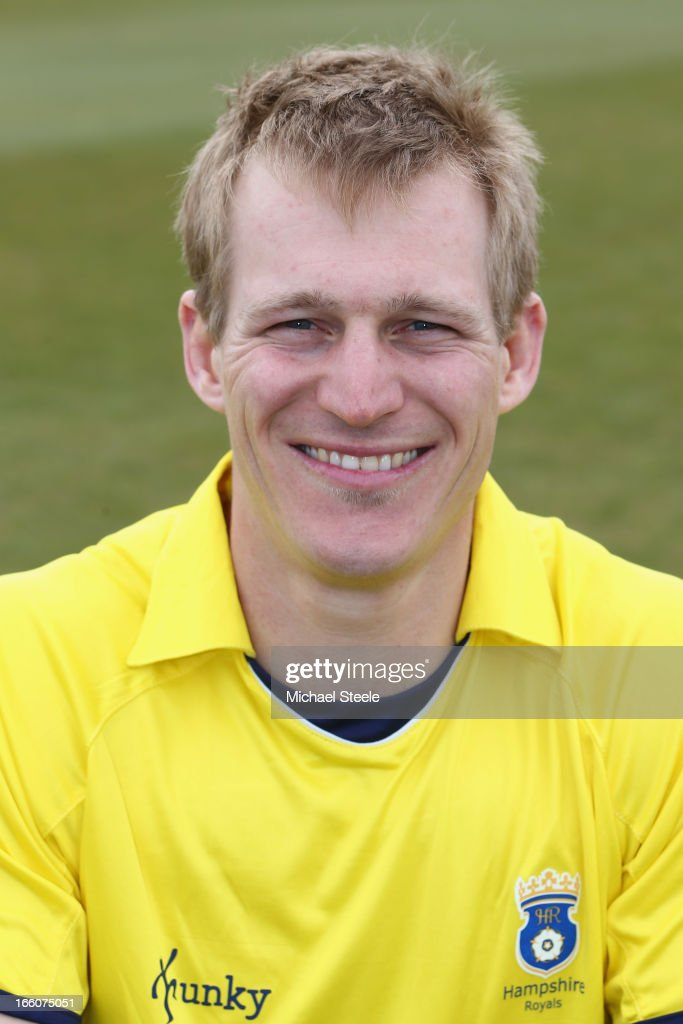 James Adams of Hampshire wearing the Yorkshire Bank 40 Over kit during the Hampshire CCC photocall at The Ageus Bowl on April 8, 2013 in Southampton, England.
