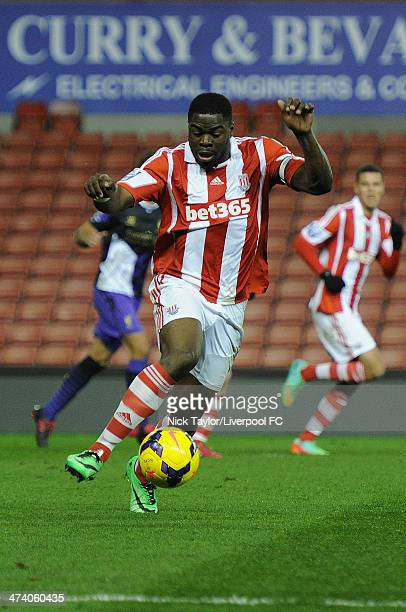James Alabi of Stoke City in action during the Barclays Premier League Under 21 fixture between Stoke City and Liverpool at Britannia Stadium on...