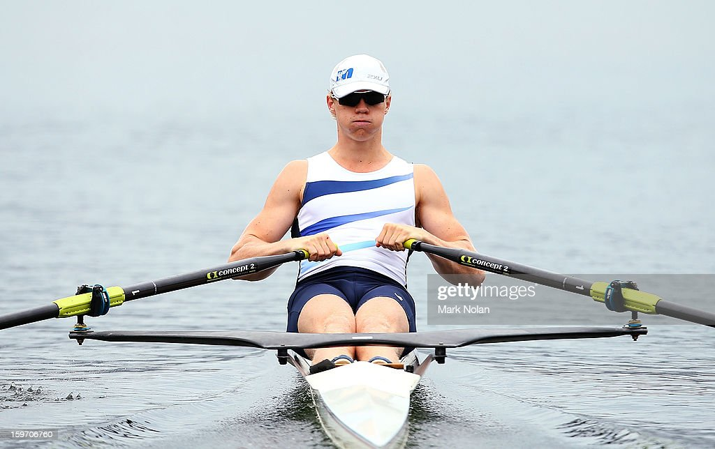 James Alcorn of Victoria competes in the Men's Singles Sculls at the rowing on day four of the Australian Youth Olympic Festival at Sydney International Regatta Centre on January 19, 2013 in Sydney, Australia.