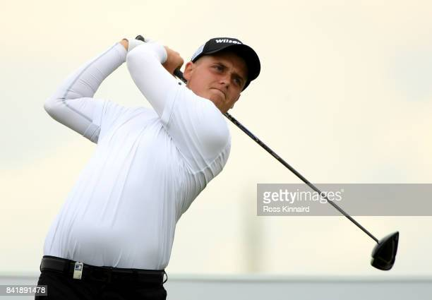 James Allen of England on the 11th tee during the third round of the DD REAL Czech Masters at Albatross Golf Resort on September 2 2017 in Prague...