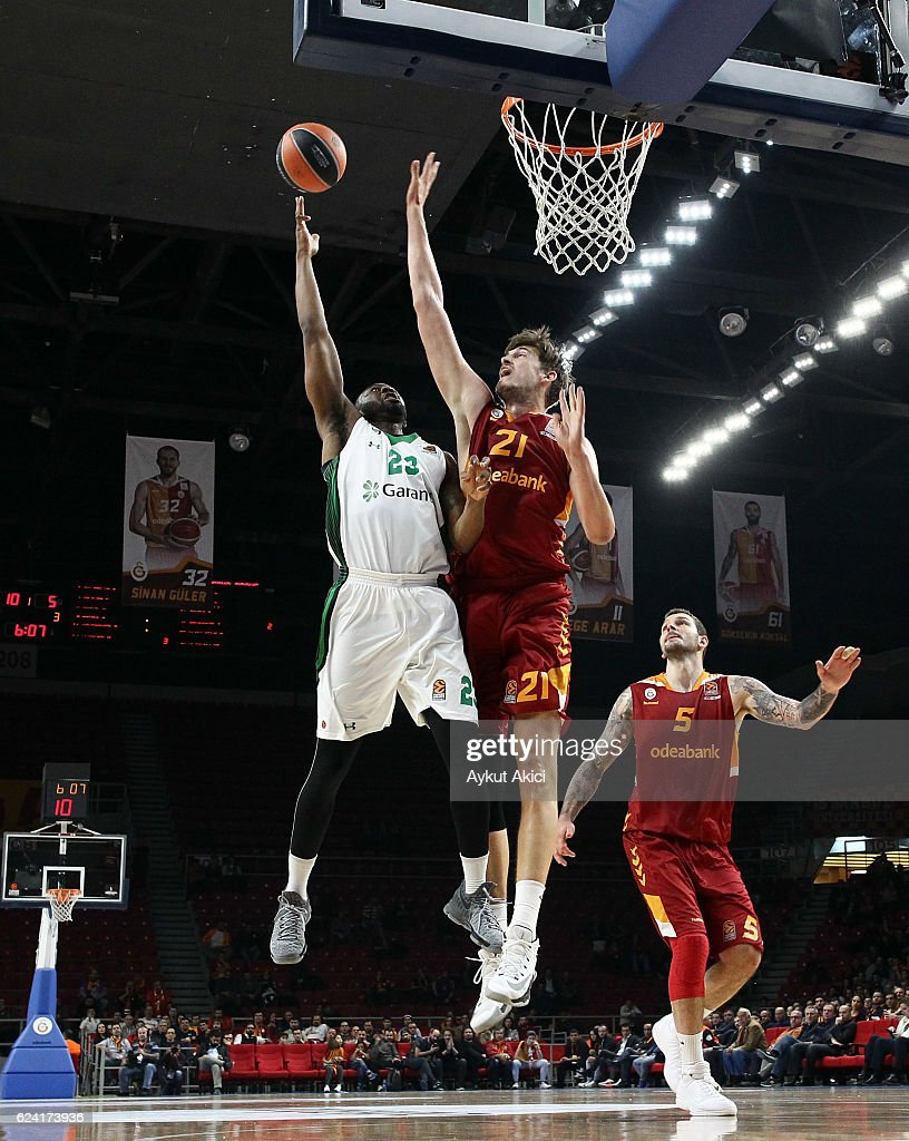 James Anderson, #23 of Darussafaka Dogus Istanbul competes with Tibor Pleiss, #21 of Galatasaray Odeabank Istanbul during the 2016/2017 Turkish Airlines EuroLeague Regular Season Round 8 game between Galatasaray Odeabank Istanbul v Darussafaka Dogus Istanbul at Abdi Ipekci Arena on November 18, 2016 in Istanbul, Turkey.