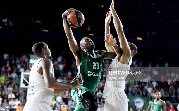 James Anderson #23 of Darussafaka Dogus Istanbul in action during the 2016/2017 Turkish Airlines EuroLeague Playoffs leg 4 game between Darussafaka...