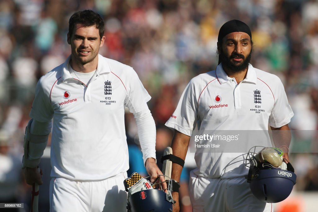 <a gi-track='captionPersonalityLinkClicked' href=/galleries/search?phrase=James+Anderson+-+Cricket+Player&family=editorial&specificpeople=6920305 ng-click='$event.stopPropagation()'>James Anderson</a> (L) and Monty Panesar of England walk off after securing the draw during day five of the npower 1st Ashes Test Match between England and Australia at the SWALEC Stadium on July 12, 2009 in Cardiff, Wales.