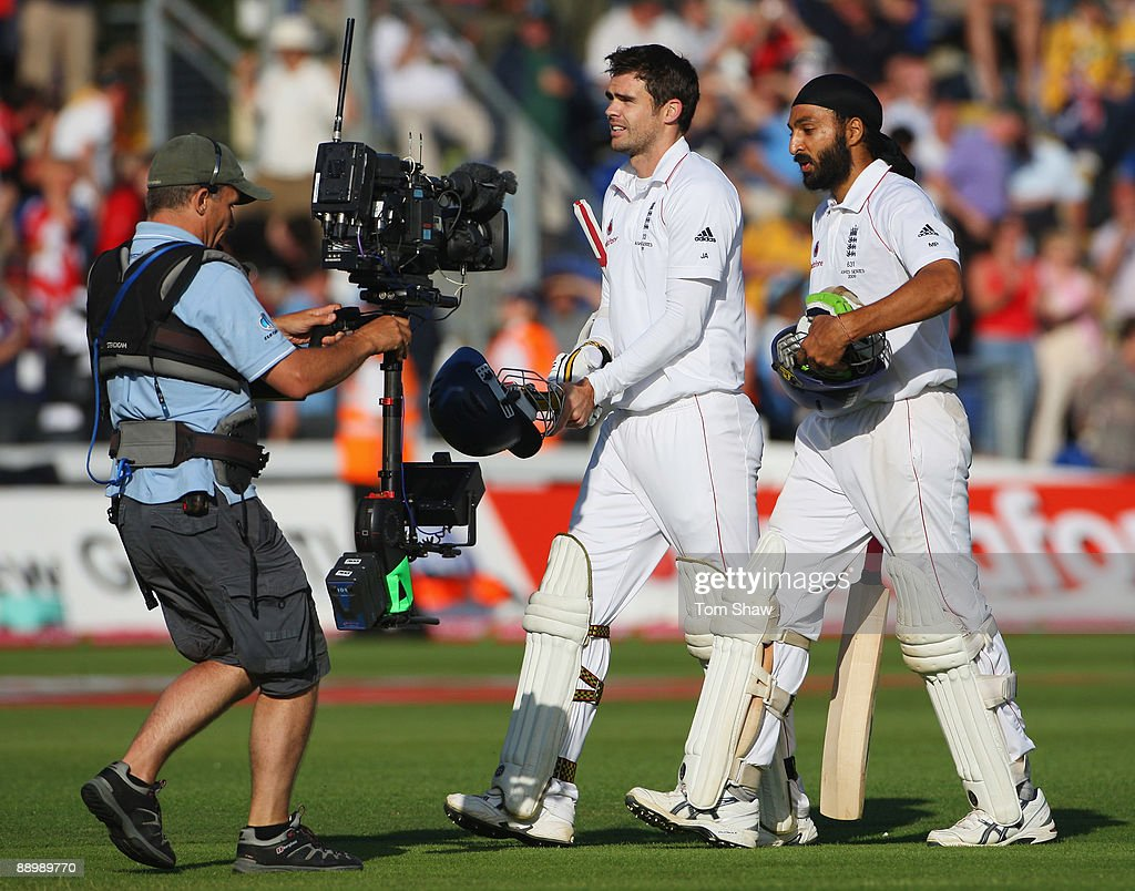 James Anderson and Monty Panesar of England walk off after securing the draw during day five of the npower 1st Ashes Test Match between England and Australia at the SWALEC Stadium on July 12, 2009 in Cardiff, Wales.