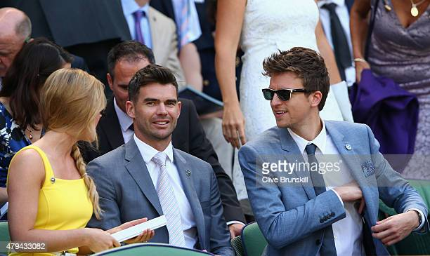 James Anderson and Radio 1 DJ Greg James on Centre Court during day six of the Wimbledon Lawn Tennis Championships at the All England Lawn Tennis and...