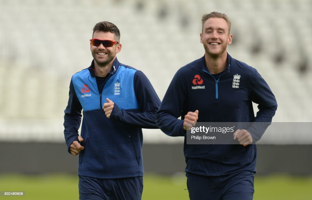 James Anderson and Stuart Broad during a training session before the 1st Investec Test match between England and the West Indies at Edgbaston cricket ground on August 16, 2017 in Birmingham, England.