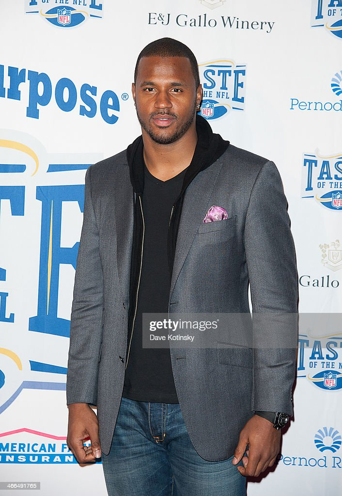 James Anderson arrives at the Taste Of The NFL 'Party With A Purpose' at Brooklyn Cruise Terminal on February 1, 2014 in New York City.