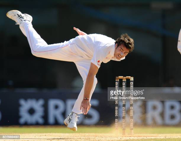 James Anderson bowling for England during the 1st Test match between India and England at MA Chidambaram Stadium Chepauk Chennai 12th December 2008...
