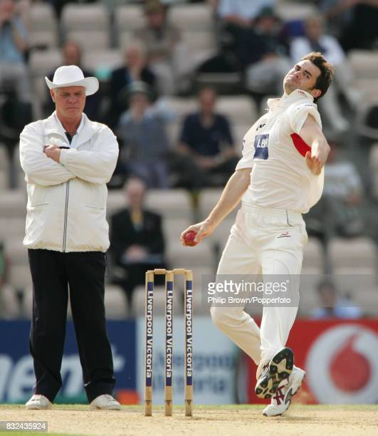 James Anderson bowling for Lancashire during the County Championship match between Hampshire and Lancashire at The Rose Bowl Southampton 21st...