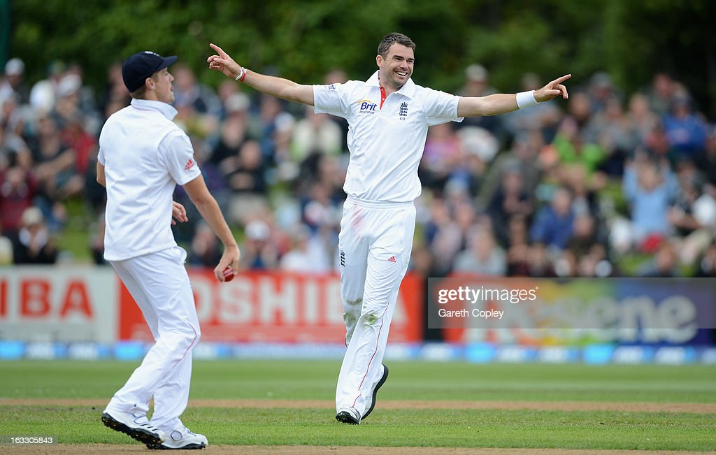 James Anderson celebrates dismissing Hamish Rutherford of New Zealand during day three of the First Test match between New Zealand and England at University Oval on March 8, 2013 in Dunedin, New Zealand.