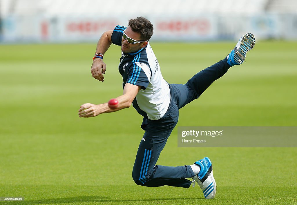 <a gi-track='captionPersonalityLinkClicked' href=/galleries/search?phrase=James+Anderson+-+Cricket+Player&family=editorial&specificpeople=6920305 ng-click='$event.stopPropagation()'>James Anderson</a> dives but misses a catch during an England Nets Session at The Kia Oval on August 14, 2014 in London, England.