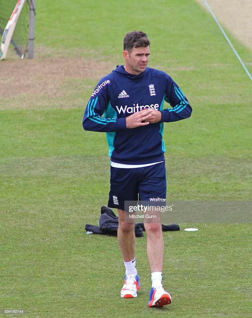James Anderson during England Nets session ahead of the 2nd Investec Test match between England and Sri Lanka at Emirates Durham ICG on May 25, 2016 in Chester-le-Street, United Kingdom.
