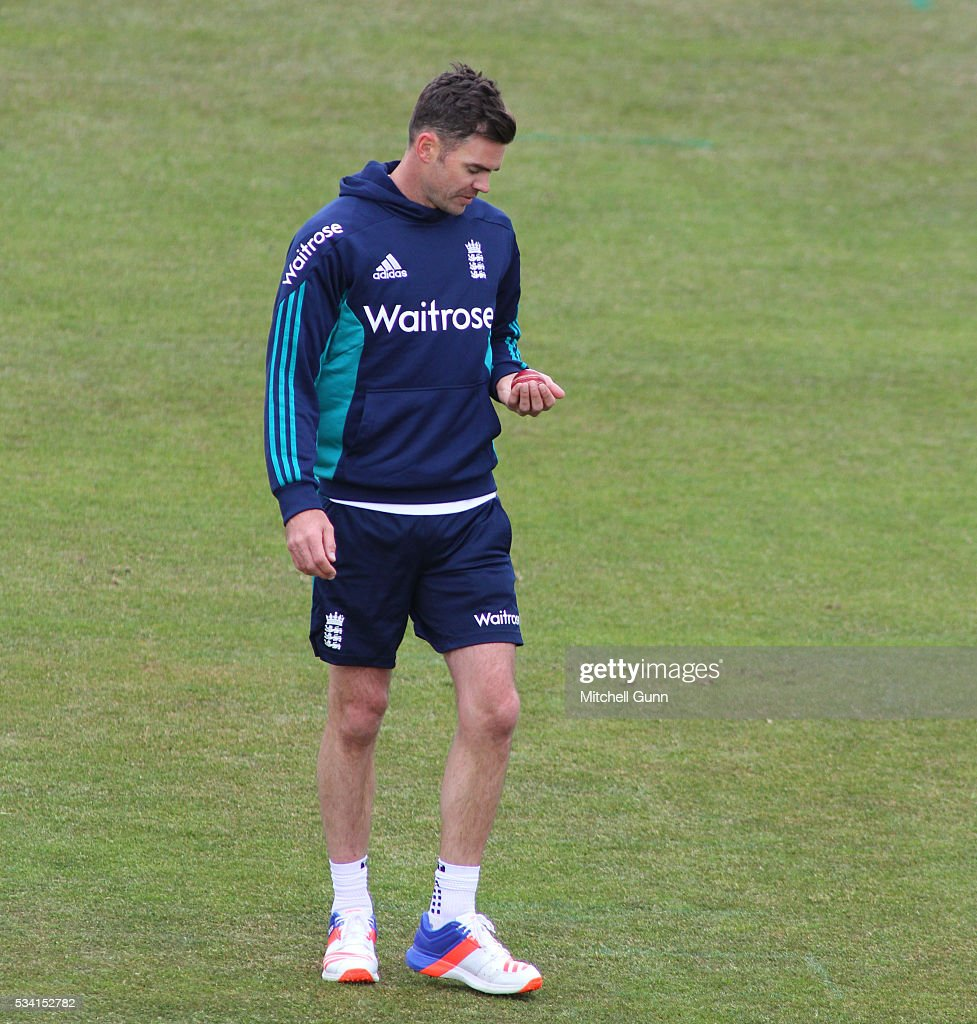 <a gi-track='captionPersonalityLinkClicked' href=/galleries/search?phrase=James+Anderson+-+Cricket+Player&family=editorial&specificpeople=6920305 ng-click='$event.stopPropagation()'>James Anderson</a> during England Nets session ahead of the 2nd Investec Test match between England and Sri Lanka at Emirates Durham ICG on May 25, 2016 in Chester-le-Street, United Kingdom.
