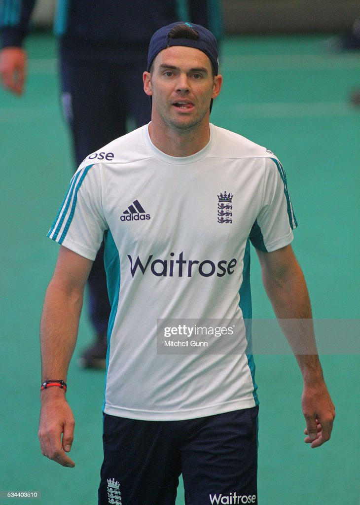 <a gi-track='captionPersonalityLinkClicked' href=/galleries/search?phrase=James+Anderson+-+Cricket+Player&family=editorial&specificpeople=6920305 ng-click='$event.stopPropagation()'>James Anderson</a> during England Nets session ahead of the 2nd Investec Test match between England and Sri Lanka at Emirates Durham ICG on May 26, 2016 in Chester-le-Street, United Kingdom.