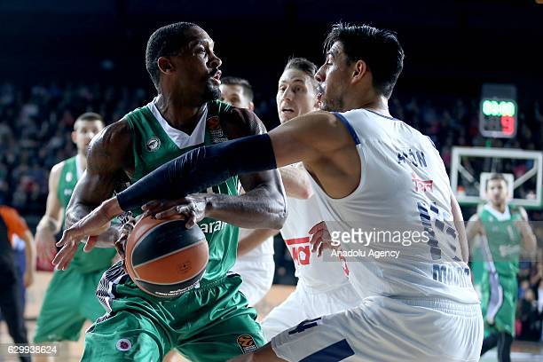 James Anderson of Darussafaka Dogus in action against Gustavo Ayon of Real Madrid during the Turkish Airlines Euroleague basketball match between...
