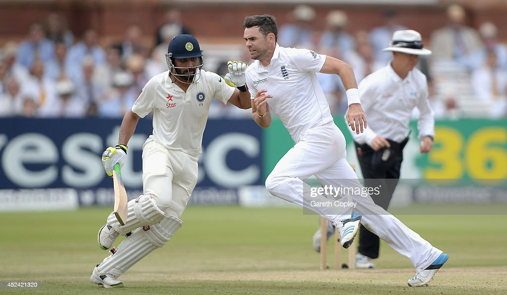 <a gi-track='captionPersonalityLinkClicked' href=/galleries/search?phrase=James+Anderson+-+Cricket+Player&family=editorial&specificpeople=6920305 ng-click='$event.stopPropagation()'>James Anderson</a> of England and <a gi-track='captionPersonalityLinkClicked' href=/galleries/search?phrase=Ravindra+Jadeja&family=editorial&specificpeople=4880243 ng-click='$event.stopPropagation()'>Ravindra Jadeja</a> of India get close during day four of 2nd Investec Test match between England and India at Lord's Cricket Ground on July 20, 2014 in London, United Kingdom.
