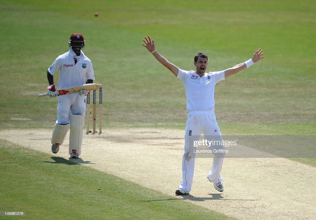James Anderson of England appeals for the wicket of <a gi-track='captionPersonalityLinkClicked' href=/galleries/search?phrase=Kemar+Roach&family=editorial&specificpeople=5408487 ng-click='$event.stopPropagation()'>Kemar Roach</a> of West Indies during the Second Investec Test Match between England and West Indies at Trent Bridge on May 28, 2012 in Nottingham, England.