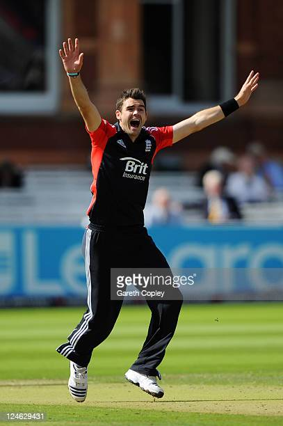 James Anderson of England appeals unsuccessfully for the wicket of Virat Kohli of India during the 4th Natwest One Day International match between...