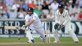 James Anderson of England bats during day three of 4th Investec Test match between England and India at Old Trafford on August 9 2014 in Manchester...