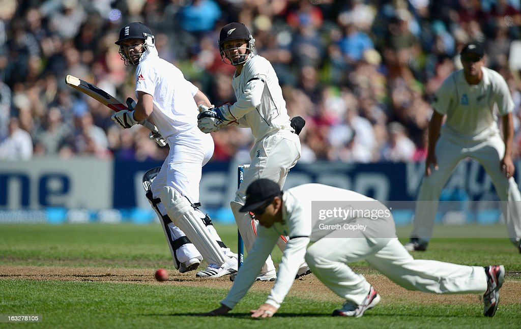 James Anderson of England bats during day two of the First Test match between New Zealand and England at University Oval on March 7, 2013 in Dunedin, New Zealand.