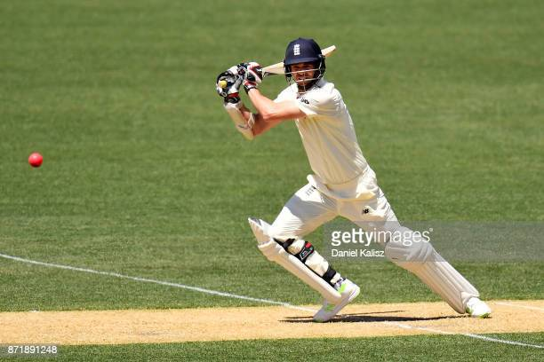 James Anderson of England bats during day two of the Four Day Tour match between the Cricket Australia XI and England at Adelaide Oval on November 9...