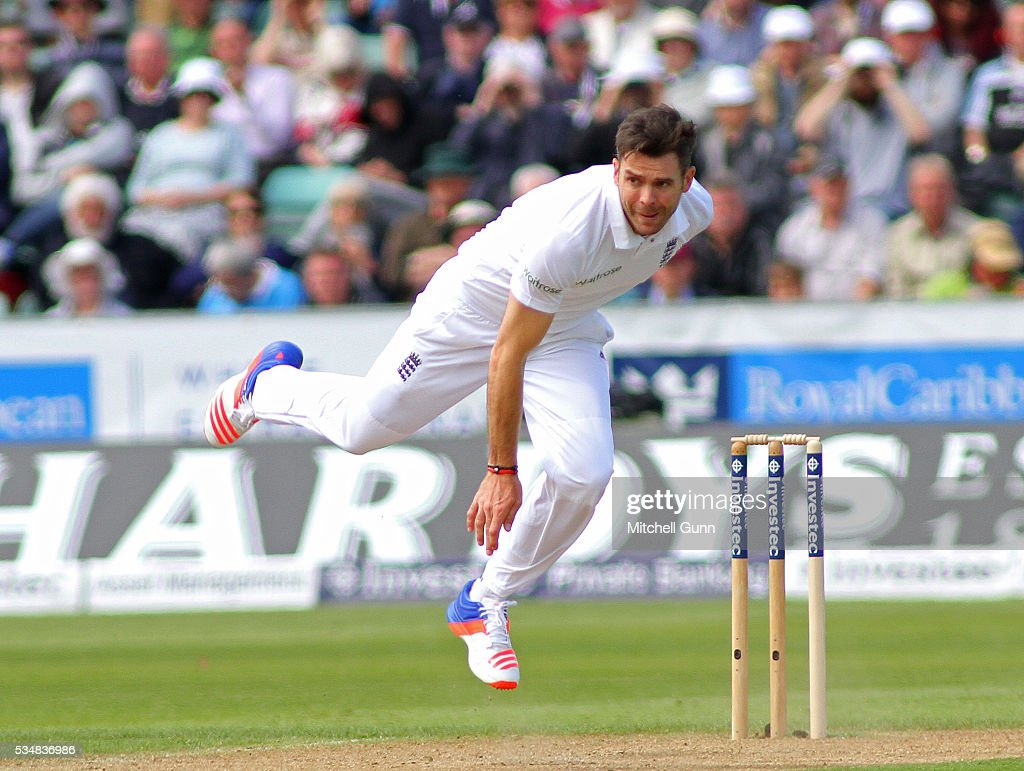 <a gi-track='captionPersonalityLinkClicked' href=/galleries/search?phrase=James+Anderson+-+Cricket&family=editorial&specificpeople=6920305 ng-click='$event.stopPropagation()'>James Anderson</a> of England bowling during day two of the 2nd Investec Test match between England and Sri Lanka at Emirates Durham ICG on May 28, 2016 in Chester-le-Street, United Kingdom.