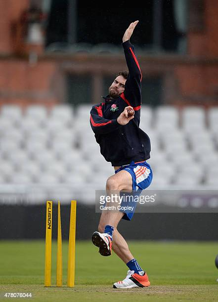 James Anderson of England bowls during a nets session at Old Trafford on June 22 2015 in Manchester England