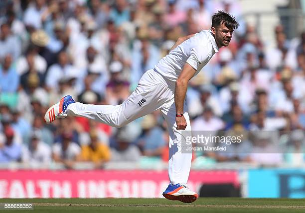 James Anderson of England bowls during day two of the 4th Investec Test between England and Pakistan at The Kia Oval on August 12 2016 in London...