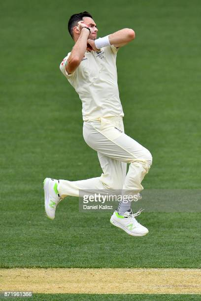 James Anderson of England bowls during day two of the Four Day Tour match between the Cricket Australia XI and England at Adelaide Oval on November 9...