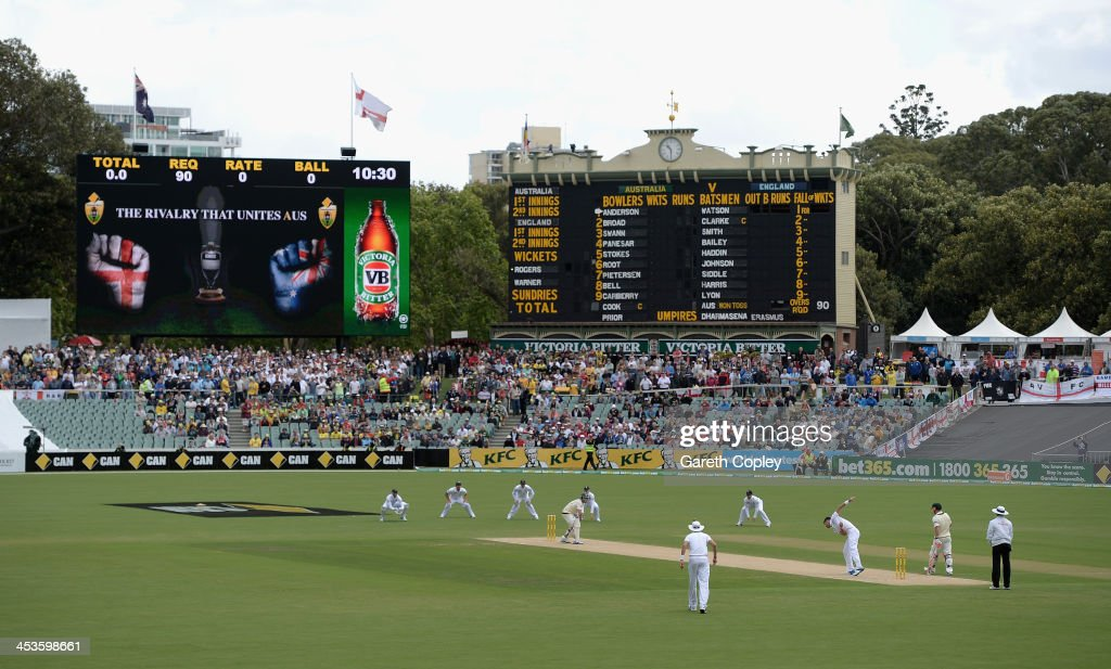 James Anderson of England bowls the first ball of the match to Chris Rogers of Australia during day one of the Second Ashes Test Match between Australia and England at Adelaide Oval on December 5, 2013 in Adelaide, Australia.