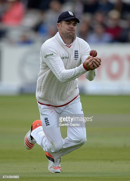James Anderson of England catches out Trent Boult of New Zealand during day three of 1st Investec Test match between England and New Zealand at...