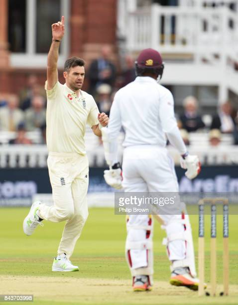 James Anderson of England celebrates after dismissing Kyle Hope of the West Indies during the third Investec cricket test match between England and...