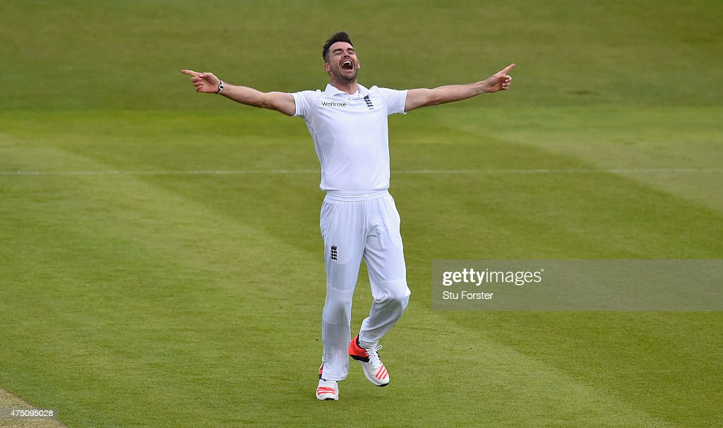 <a gi-track='captionPersonalityLinkClicked' href=/galleries/search?phrase=James+Anderson+-+Cricket+Player&family=editorial&specificpeople=6920305 ng-click='$event.stopPropagation()'>James Anderson</a> of England celebrates after dismissing New Zealand batsman Martin Guptill to claim his 400 th test match wicket during day one of the 2nd Investec test match between England and New Zealand at Headingley on May 29, 2015 in Leeds, England.