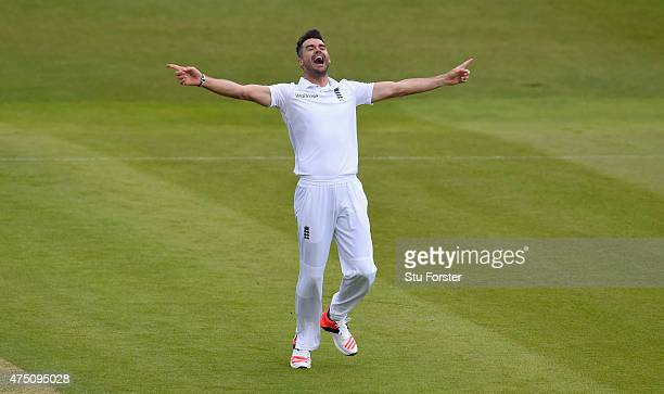 James Anderson of England celebrates after dismissing New Zealand batsman Martin Guptill to claim his 400 th test match wicket during day one of the...
